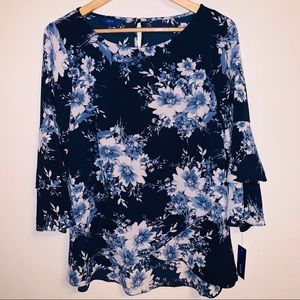 APT. 9 Floral Cross Front Tierd Bell Sleeve Blouse
